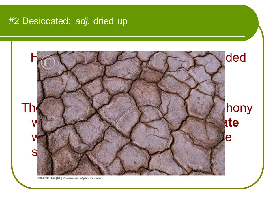 #2 Desiccated: adj. dried up His weathered, aged features reminded Nellie of a desiccated prune. The performance of the famous symphony was technicall