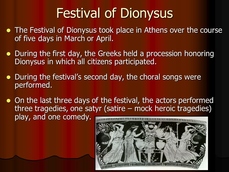 Festival of Dionysus The Festival of Dionysus took place in Athens over the course of five days in March or April. The Festival of Dionysus took place