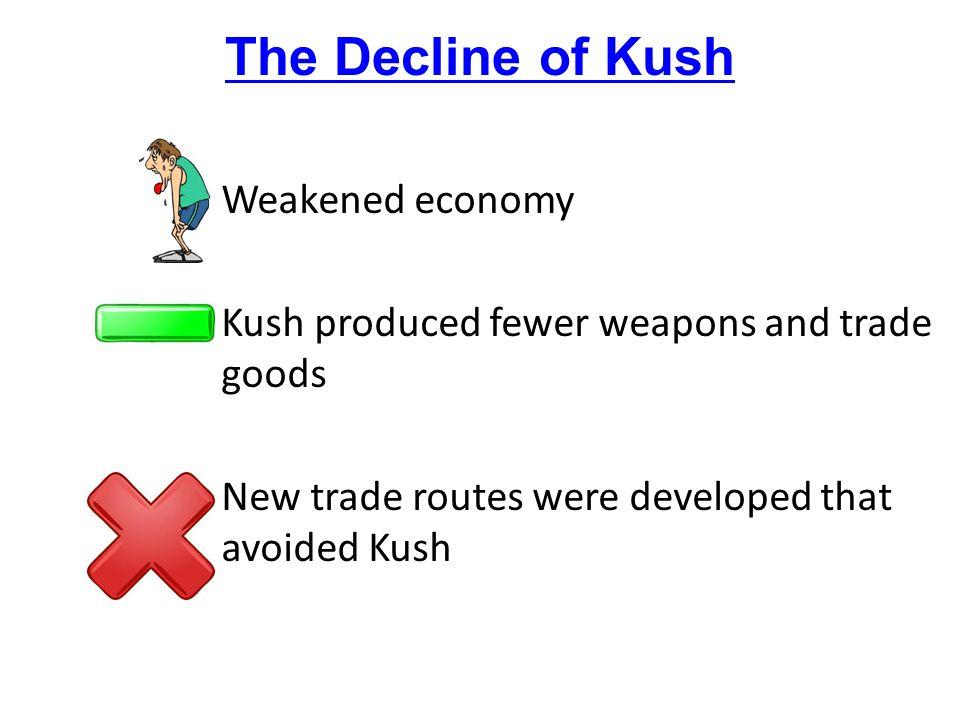 The Decline of Kush Weakened economy Kush produced fewer weapons and trade goods New trade routes were developed that avoided Kush