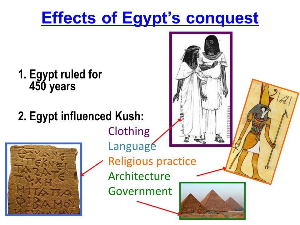 Effects of Egypt's conquest 1.Egypt ruled for 450 years 2.