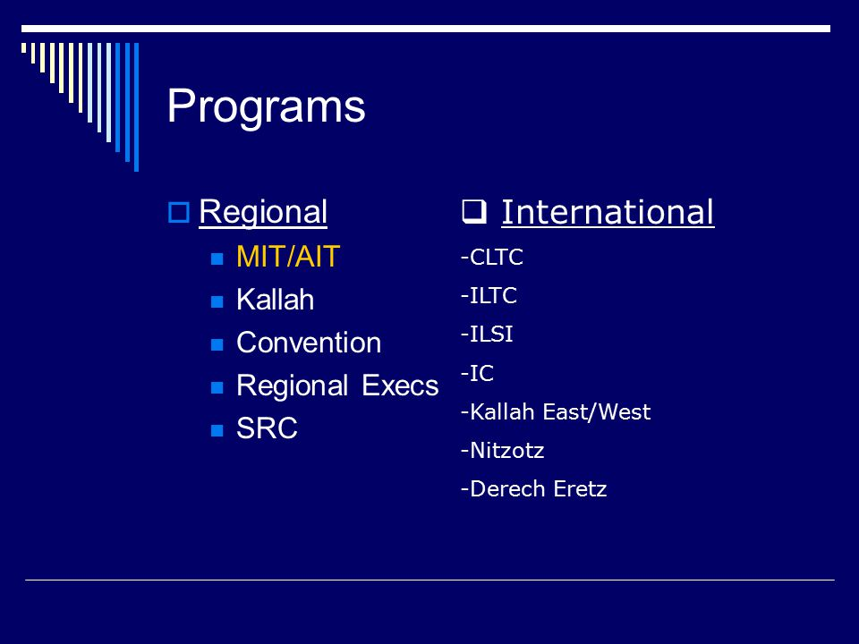 Programs  Regional MIT/AIT Kallah Convention Regional Execs SRC  International -CLTC -ILTC -ILSI -IC -Kallah East/West -Nitzotz -Derech Eretz