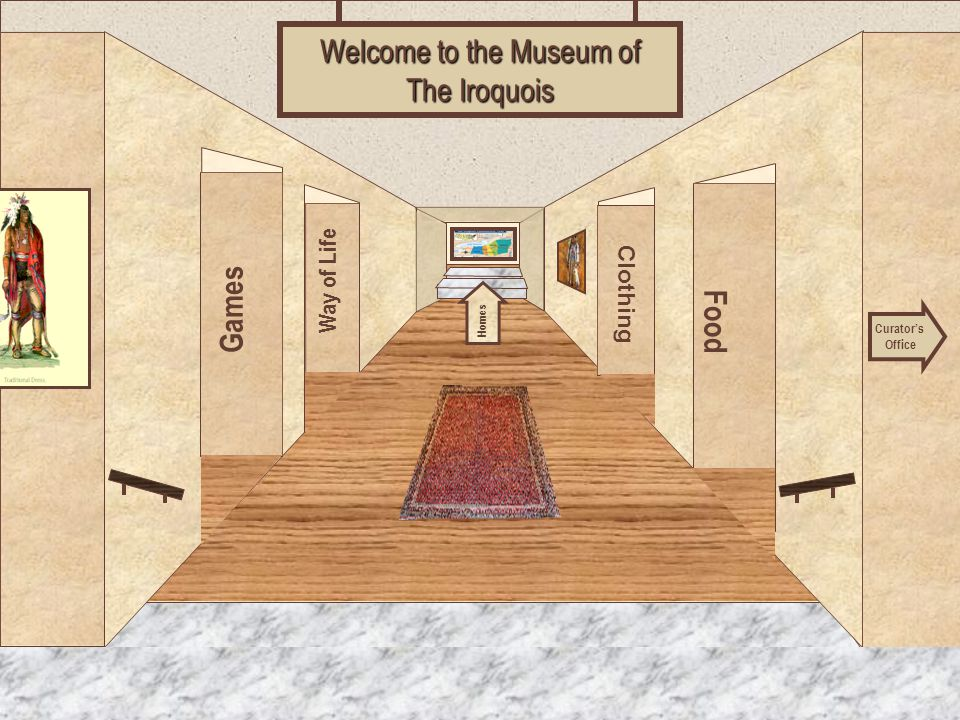 Museum Entrance Games Way of Life Food Clothing Welcome to the Museum of The Iroquois Curator's Office Homes