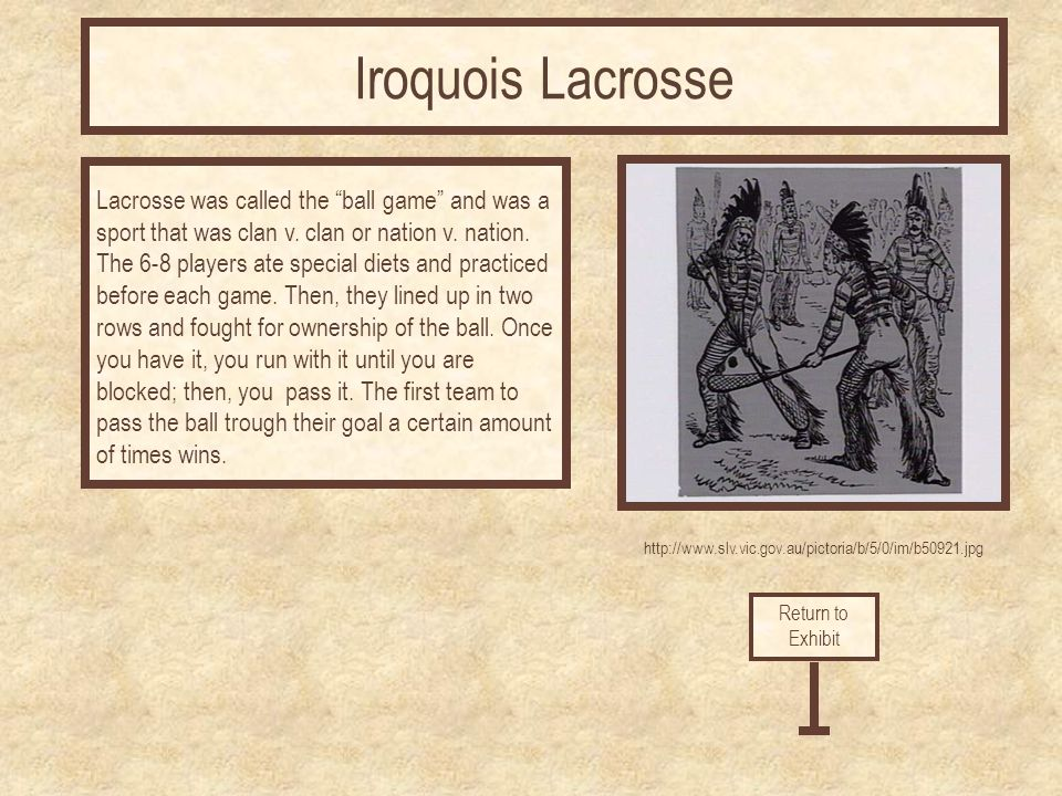 "http://www.slv.vic.gov.au/pictoria/b/5/0/im/b50921.jpg Lacrosse was called the ""ball game"" and was a sport that was clan v. clan or nation v. nation."