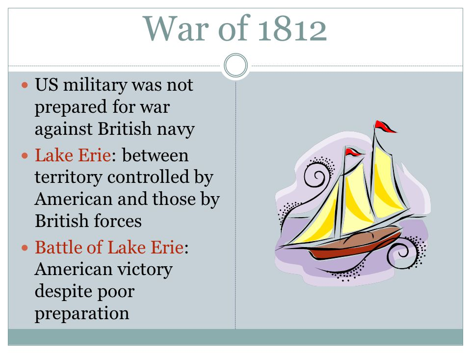 War of 1812 US military was not prepared for war against British navy Lake Erie: between territory controlled by American and those by British forces Battle of Lake Erie: American victory despite poor preparation