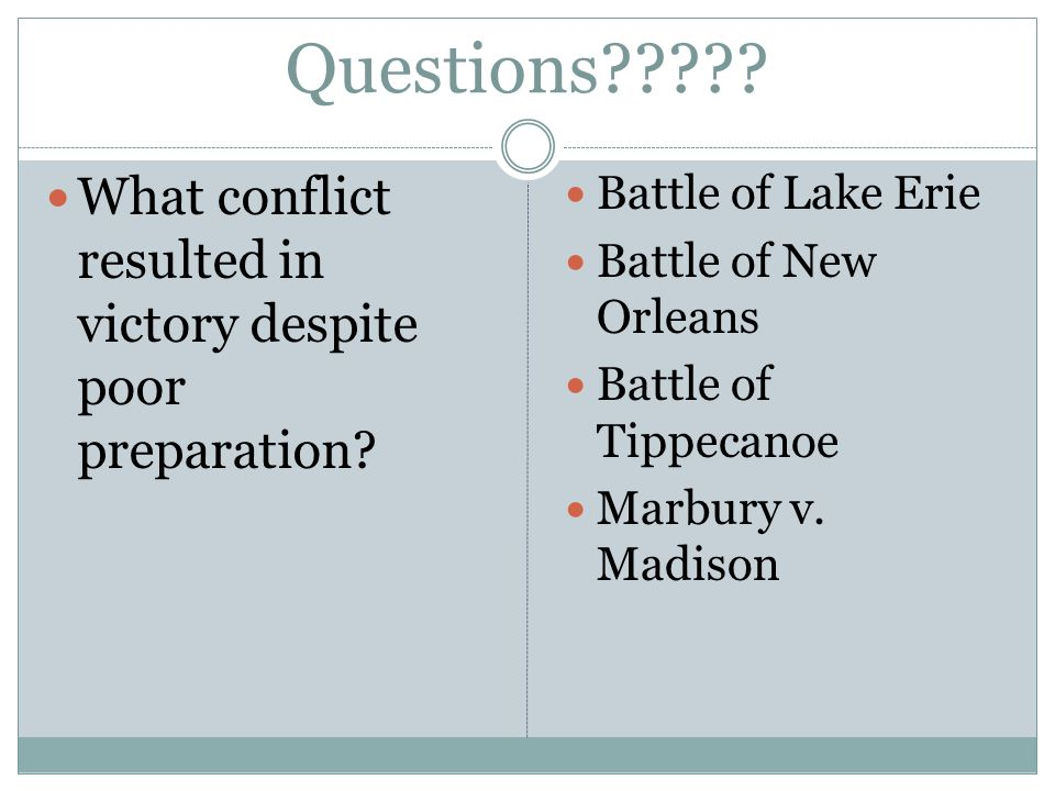 Questions . What conflict resulted in victory despite poor preparation.