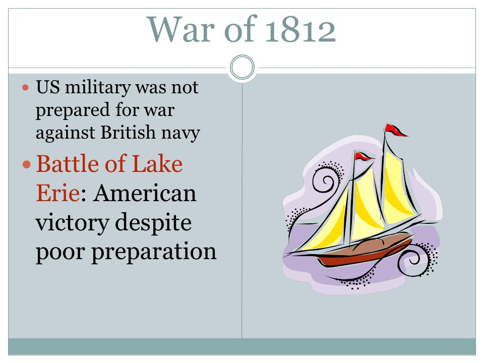 War of 1812 US military was not prepared for war against British navy Battle of Lake Erie: American victory despite poor preparation