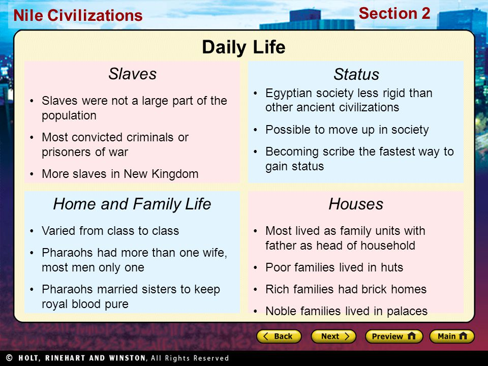 Nile Civilizations Section 2 Slaves Slaves were not a large part of the population Most convicted criminals or prisoners of war More slaves in New Kin