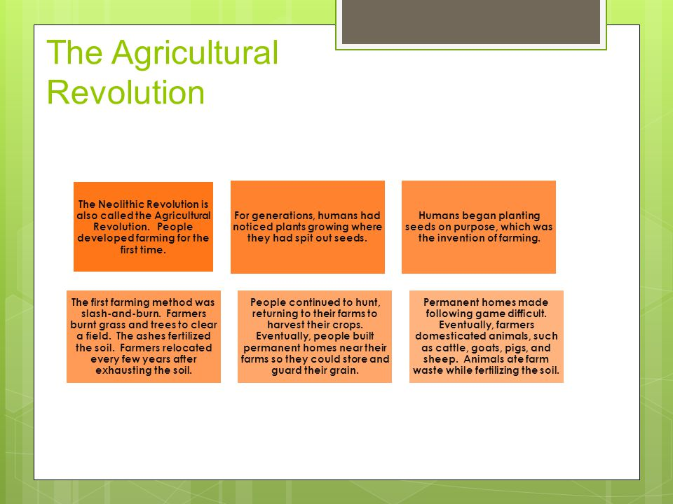 The Agricultural Revolution The Neolithic Revolution is also called the Agricultural Revolution.