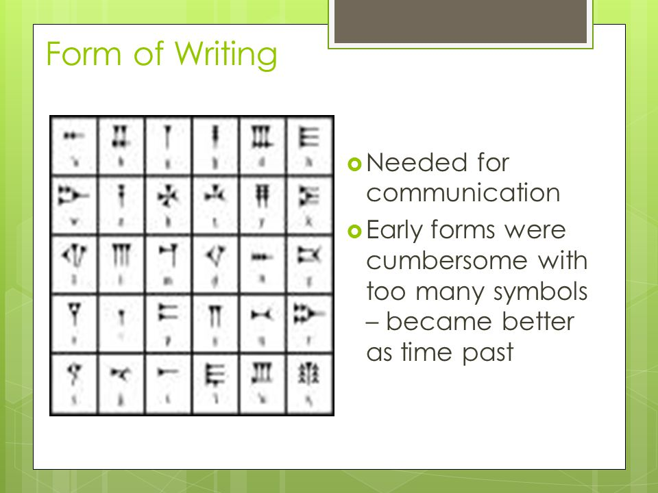 Form of Writing  Needed for communication  Early forms were cumbersome with too many symbols – became better as time past