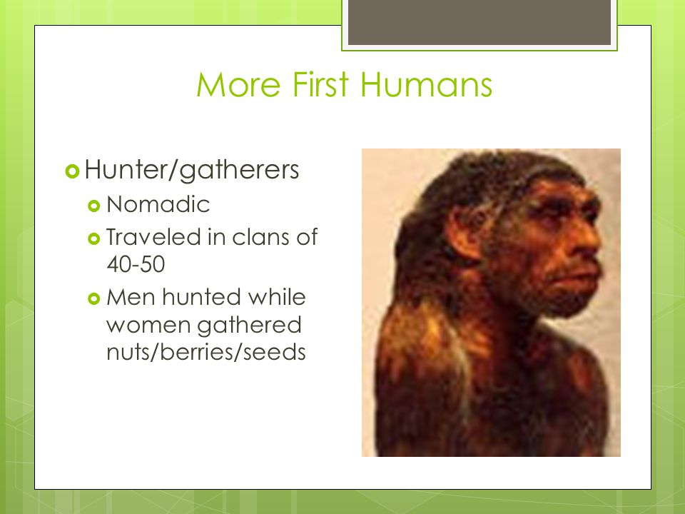 More First Humans  Hunter/gatherers  Nomadic  Traveled in clans of 40-50  Men hunted while women gathered nuts/berries/seeds