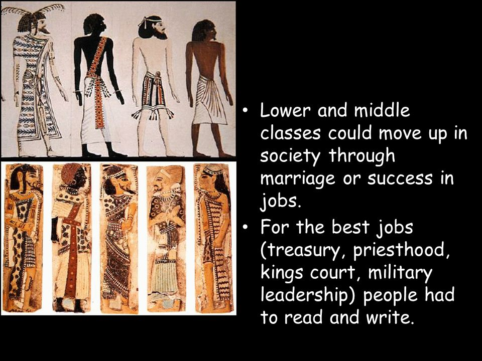 Lower and middle classes could move up in society through marriage or success in jobs. For the best jobs (treasury, priesthood, kings court, military