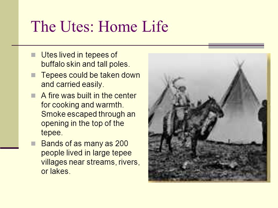 The Utes: Home Life Utes lived in tepees of buffalo skin and tall poles. Tepees could be taken down and carried easily. A fire was built in the center