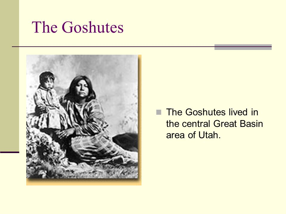 The Goshutes The Goshutes lived in the central Great Basin area of Utah.