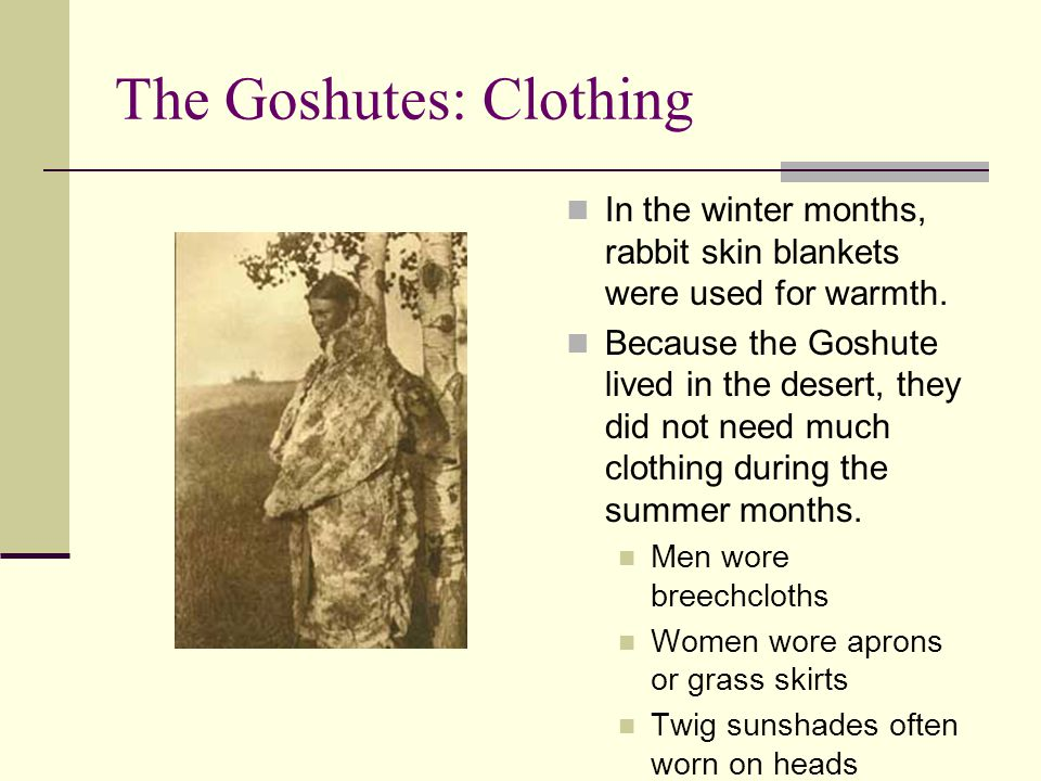 The Goshutes: Clothing In the winter months, rabbit skin blankets were used for warmth. Because the Goshute lived in the desert, they did not need muc
