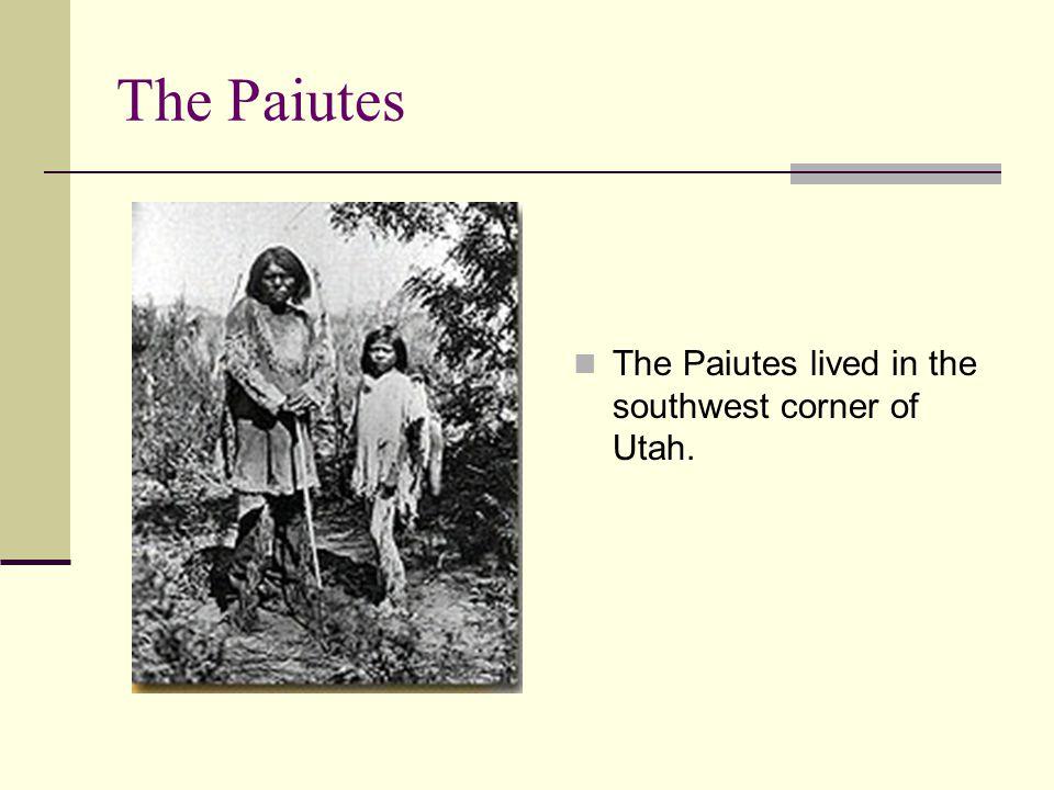 The Paiutes The Paiutes lived in the southwest corner of Utah.