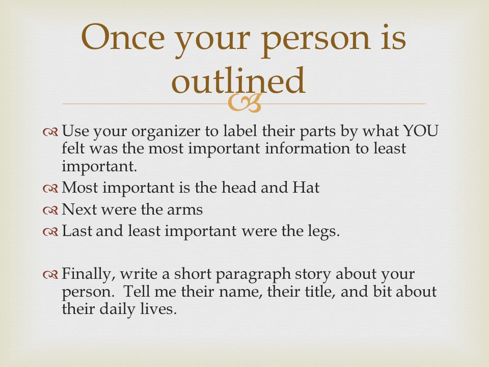   Use your organizer to label their parts by what YOU felt was the most important information to least important.