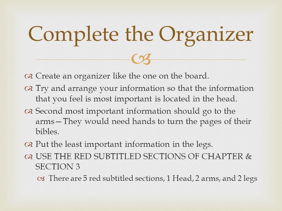   Create an organizer like the one on the board.