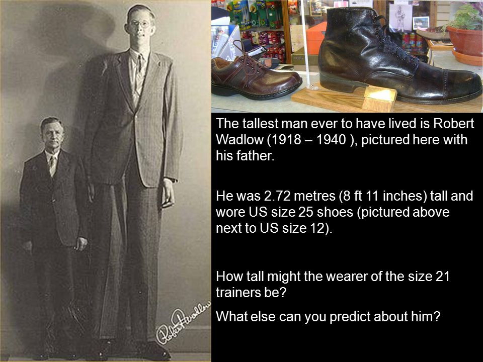 The tallest man ever to have lived is Robert Wadlow (1918 – 1940 ), pictured here with his father.