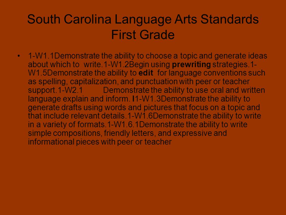 South Carolina Standards Social Studies First Grade A.1.1 Demonstrate an understanding of the way individuals, families, and communities live and work together now and in the past.