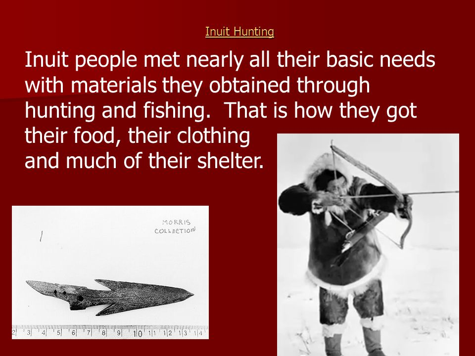 Inuit Hunting Inuit Hunting Inuit people met nearly all their basic needs with materials they obtained through hunting and fishing. That is how they g