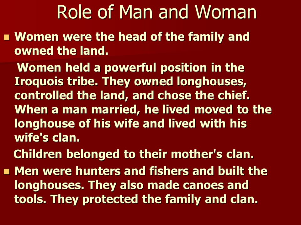 Role of Man and Woman Women were the head of the family and owned the land. Women were the head of the family and owned the land. Women held a powerfu
