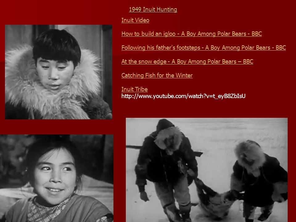 1949 Inuit Hunting 1949 Inuit Hunting Inuit Video How to build an igloo - A Boy Among Polar Bears - BBC Following his father's footsteps - A Boy Among