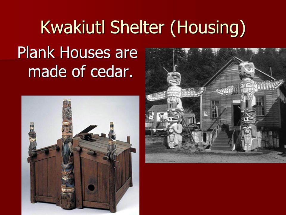 Kwakiutl Shelter (Housing) Plank Houses are made of cedar.