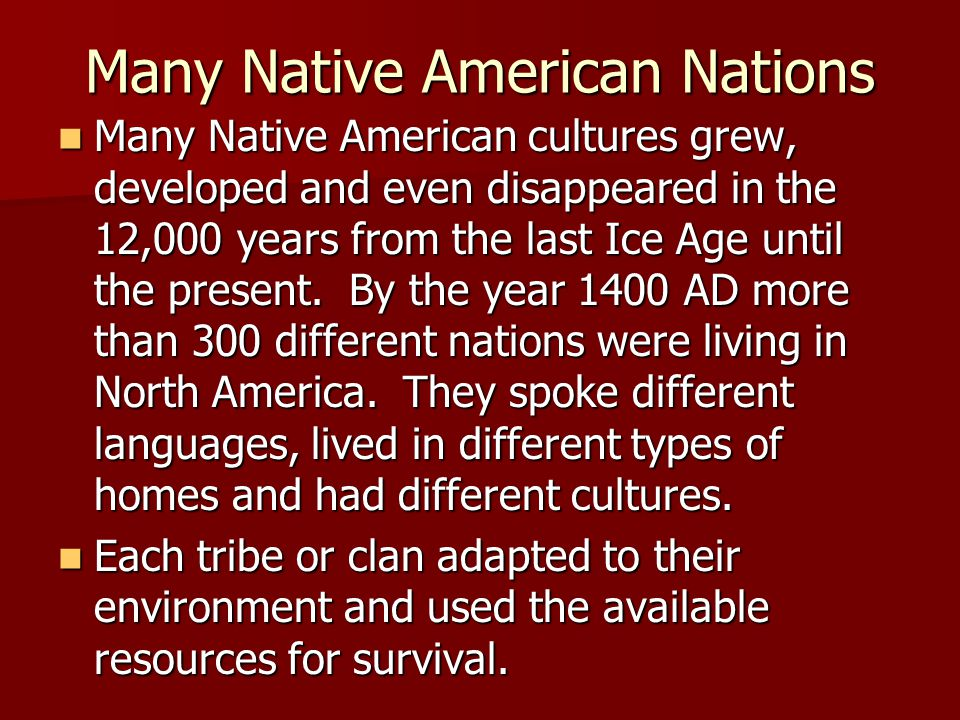 Many Native American Nations Many Native American cultures grew, developed and even disappeared in the 12,000 years from the last Ice Age until the pr
