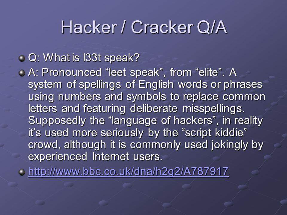 Hacker / Cracker Q/A Q: What is l33t speak.A: Pronounced leet speak , from elite .