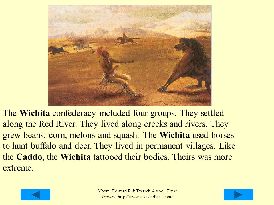 Moore, Edward R & Texarch Assoc., Texas Indians, http://www.texasindians.com/ The Wichita confederacy included four groups. They settled along the Red