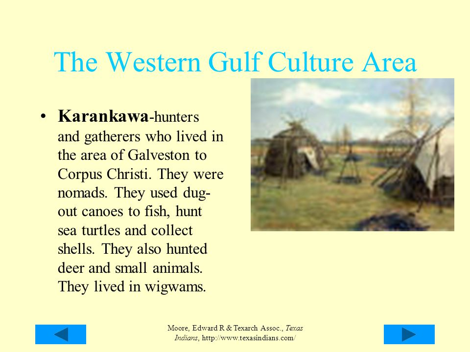 Moore, Edward R & Texarch Assoc., Texas Indians, http://www.texasindians.com/ The Western Gulf Culture Area Karankawa -hunters and gatherers who lived