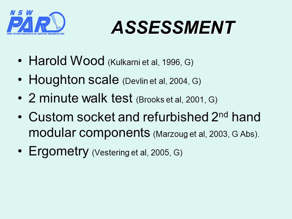 ASSESSMENT Harold Wood (Kulkarni et al, 1996, G) Houghton scale (Devlin et al, 2004, G) 2 minute walk test (Brooks et al, 2001, G) Custom socket and r