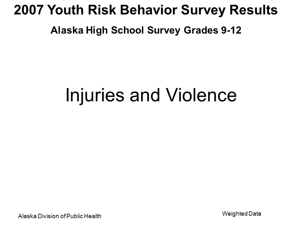 2007 Youth Risk Behavior Survey Results Alaska High School Survey Grades 9-12 Alaska Division of Public Health Weighted Data Among students who rode a bicycle during the past 12 months, the percentage who never or rarely wore a bicycle helmet