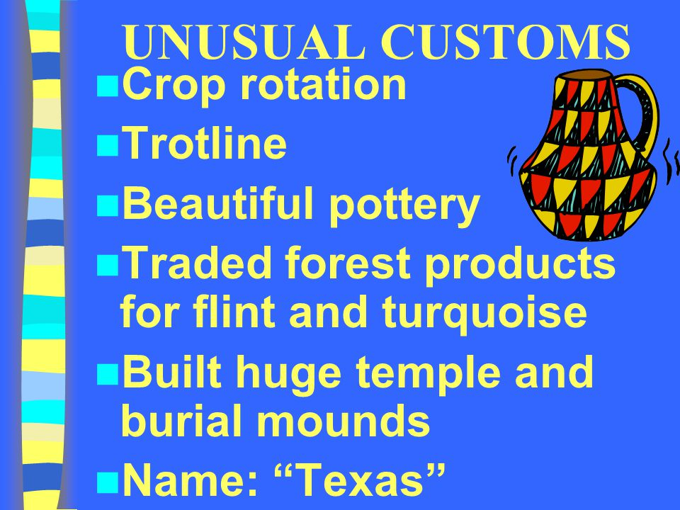 """UNUSUAL CUSTOMS Crop rotation Trotline Beautiful pottery Traded forest products for flint and turquoise Built huge temple and burial mounds Name: """"Tex"""