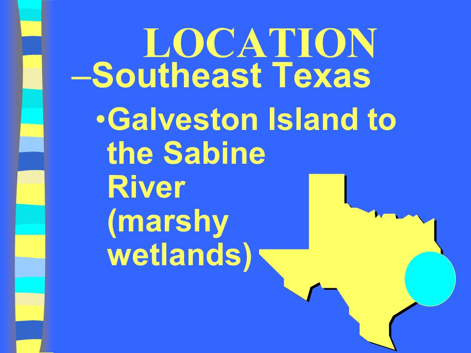 LOCATION –Southeast Texas Galveston Island to the Sabine River (marshy wetlands)
