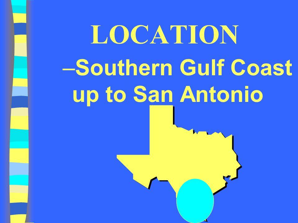 LOCATION –Southern Gulf Coast up to San Antonio