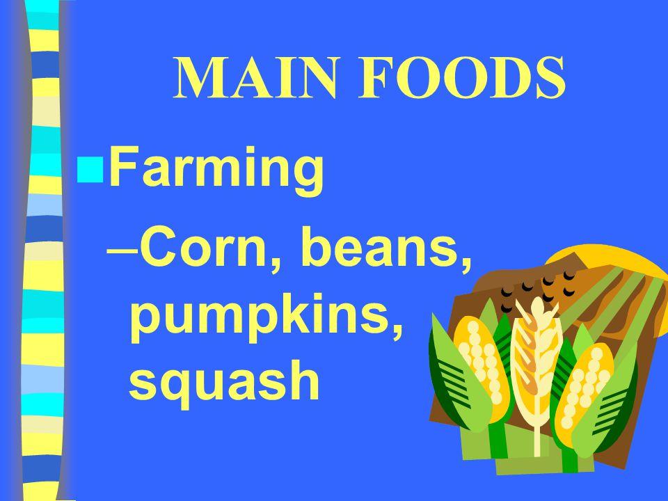 MAIN FOODS Farming –Corn, beans, pumpkins, squash