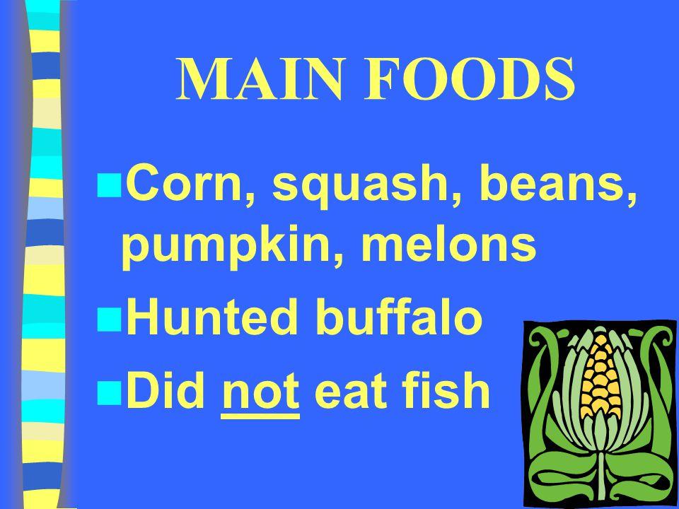 MAIN FOODS Corn, squash, beans, pumpkin, melons Hunted buffalo Did not eat fish