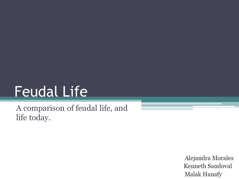Feudal Life A comparison of feudal life, and life today.