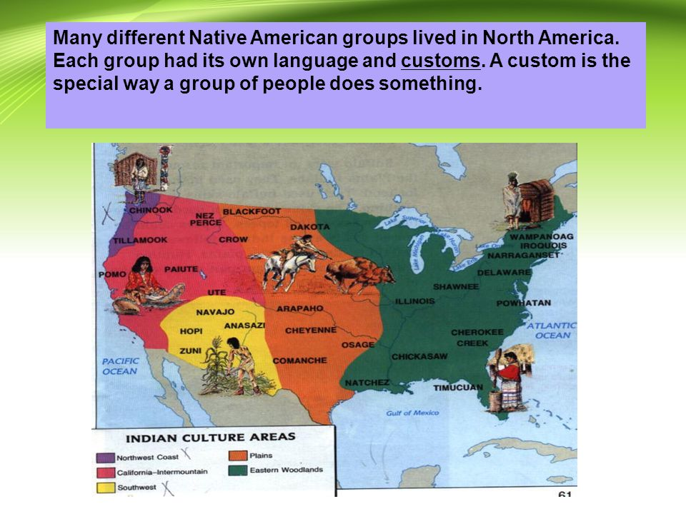 Many different Native American groups lived in North America.
