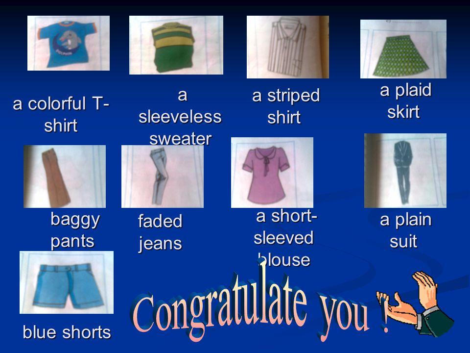 a colorful T- shirt a plaid skirt a plaid skirt a plain suit a plain suit a short- sleeved blouse a short- sleeved blouse a sleeveless sweater a sleeveless sweater blue shorts faded jeans baggy pants baggy pants a striped shirt a striped shirt