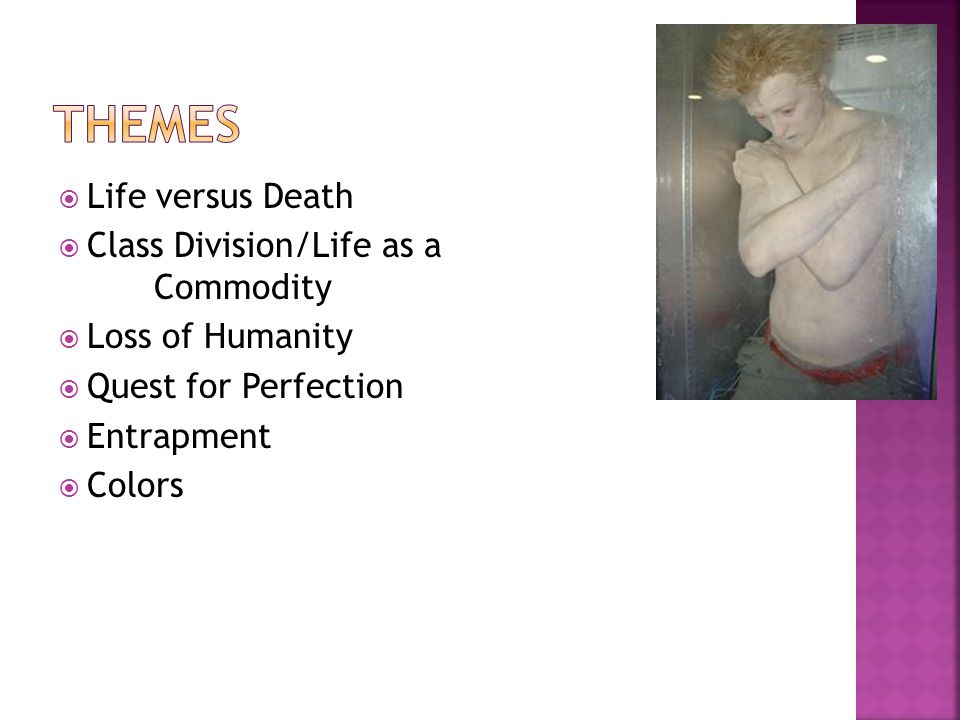  Life versus Death  Class Division/Life as a Commodity  Loss of Humanity  Quest for Perfection  Entrapment  Colors