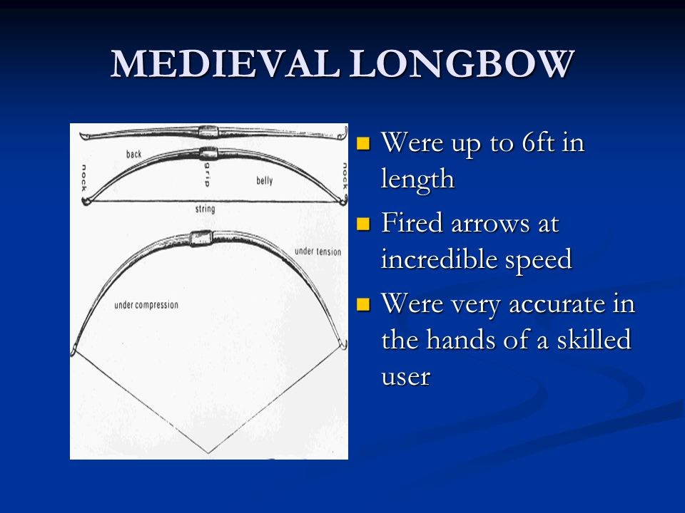 MEDIEVAL LONGBOW Were up to 6ft in length Fired arrows at incredible speed Were very accurate in the hands of a skilled user