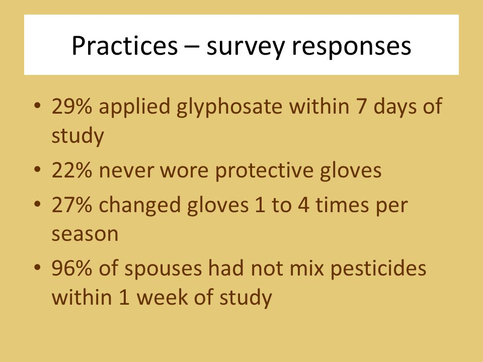 Practices – survey responses 29% applied glyphosate within 7 days of study 22% never wore protective gloves 27% changed gloves 1 to 4 times per season 96% of spouses had not mix pesticides within 1 week of study