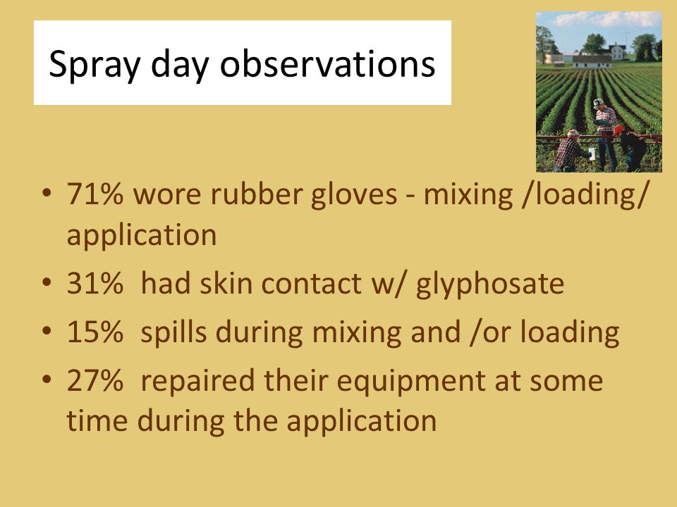 Spray day observations 71% wore rubber gloves - mixing /loading/ application 31% had skin contact w/ glyphosate 15% spills during mixing and /or loading 27% repaired their equipment at some time during the application