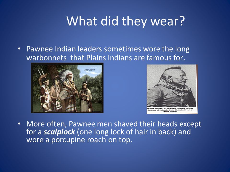 What did they wear? Pawnee Indian leaders sometimes wore the long warbonnets that Plains Indians are famous for. More often, Pawnee men shaved their h