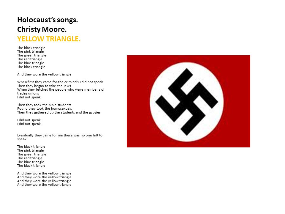 Holocaust's songs. Christy Moore. YELLOW TRIANGLE.