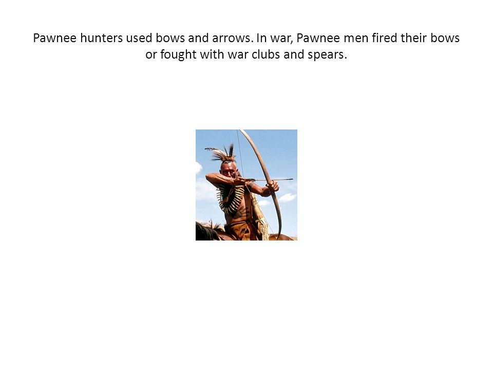 Pawnee hunters used bows and arrows. In war, Pawnee men fired their bows or fought with war clubs and spears.