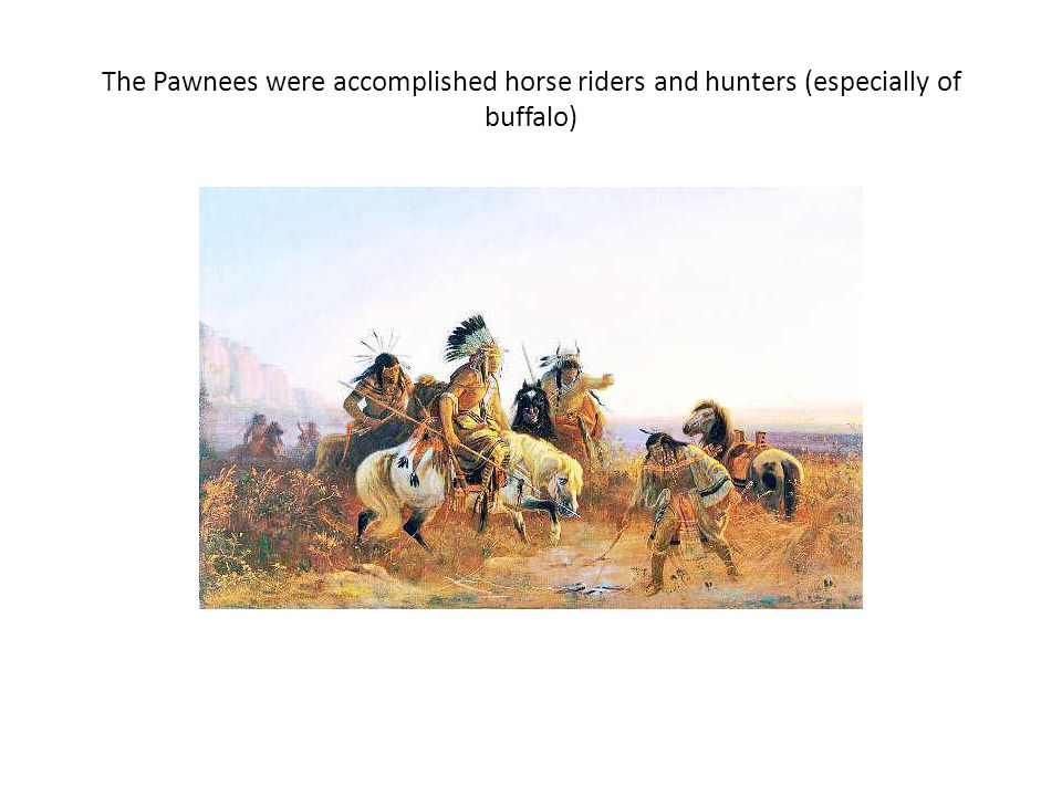 The Pawnees were accomplished horse riders and hunters (especially of buffalo)