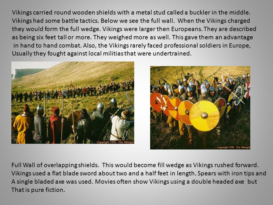 Vikings carried round wooden shields with a metal stud called a buckler in the middle.